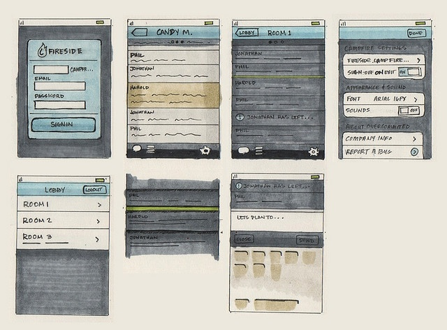 Hand-drawn wireframe sketches of an iPhone app