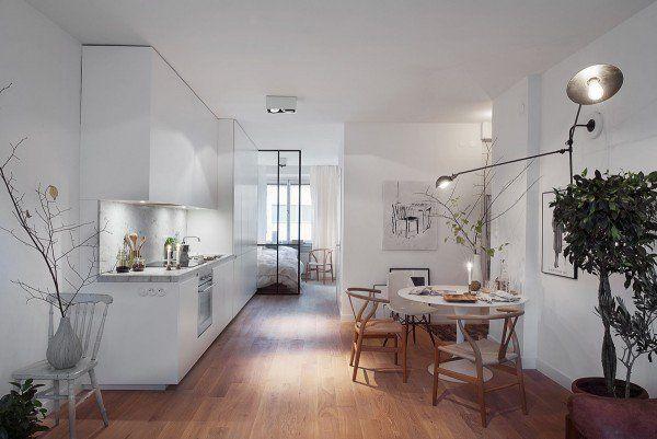 petit studio avec cuisne et salle à manger de design scandinave
