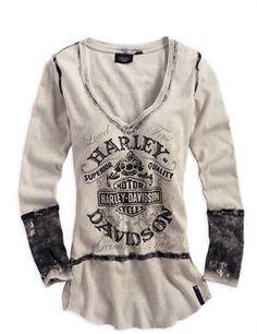 Harley-Davidson® Women's Black Label Washed Out Creme Long Sleeve Shirt 96200-14VW#HDNaughtyList