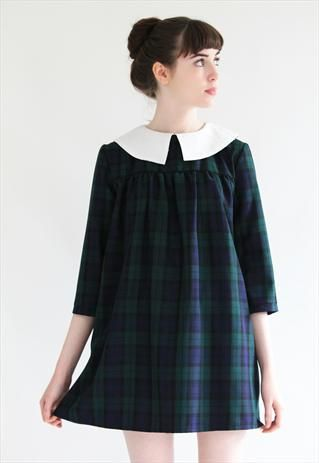 Olivia Tartan Babydoll smock with Bobble Collar from Mod dolly