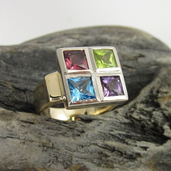 Yellow and White Gold Multi Coloured Stone Ring | Geoff Taylor Goldsmith