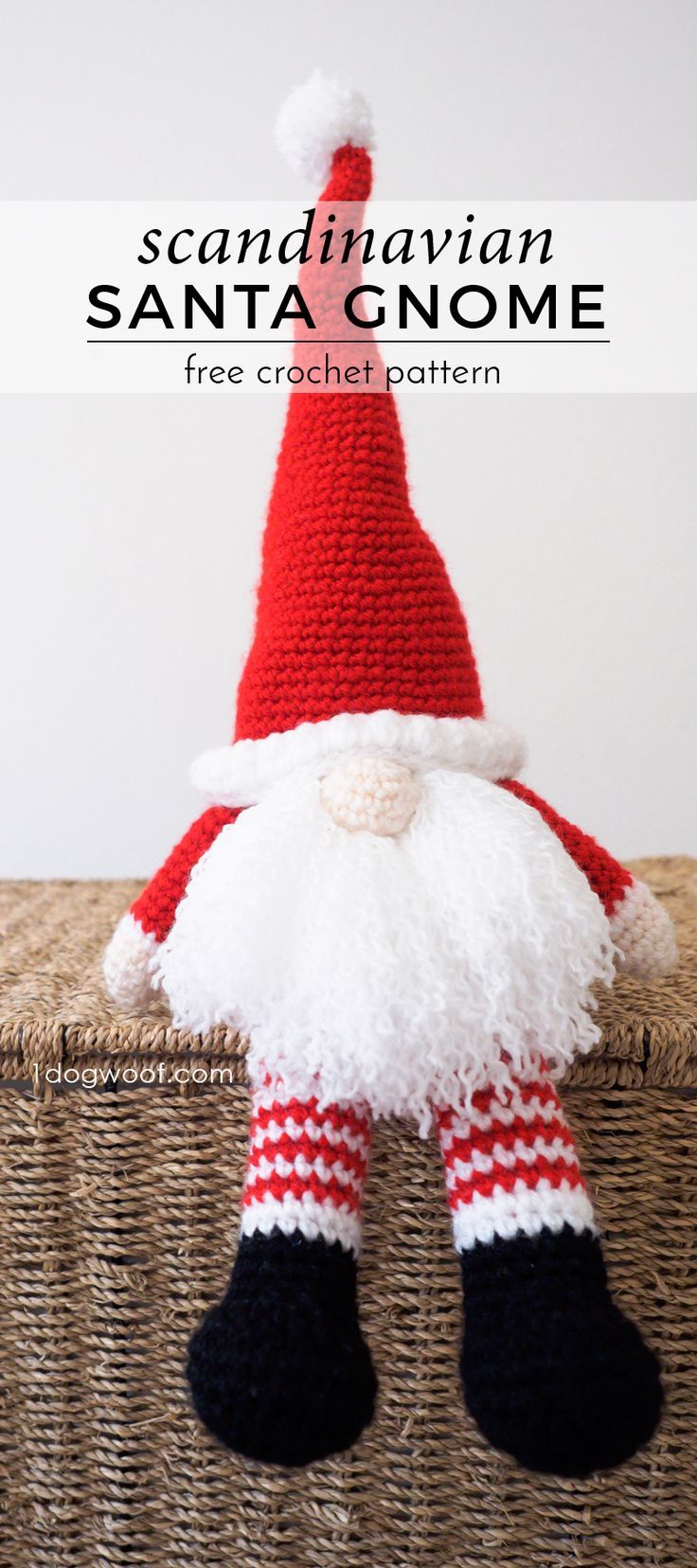 Scandinavian Santa Gnome free crochet pattern. Makes a perfect handmade gift for Christmas! www.1dogwoof.com