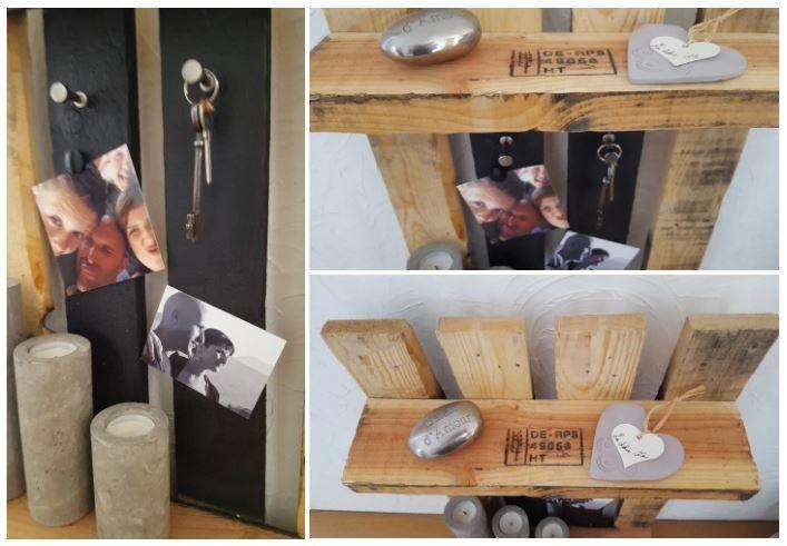 #DIY de Nadege Dzidéesdenana : elle a créé une étagère d'entrée avec une palette et de la #peinture #babou (7€ la #bombe)