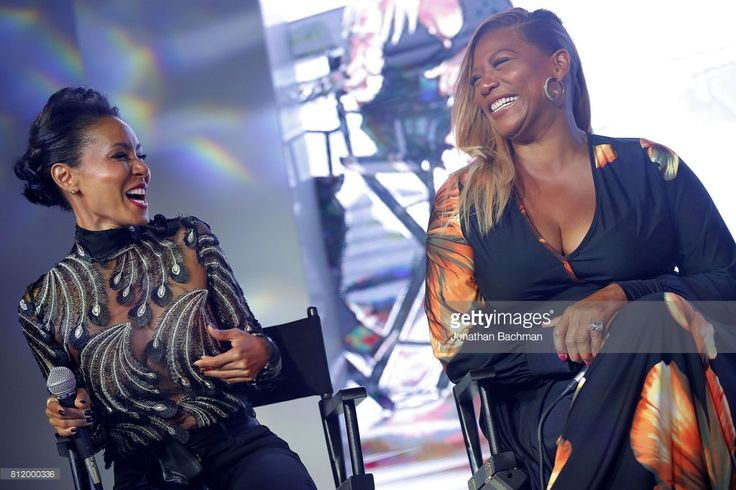 Jada Pinkett Smith, left, Queen Latifah from the movie Girls Trips speak during the Essence Music Festival at the Ernest N. Morial Convention Center on July 1, 2017 in New Orleans, Louisiana.