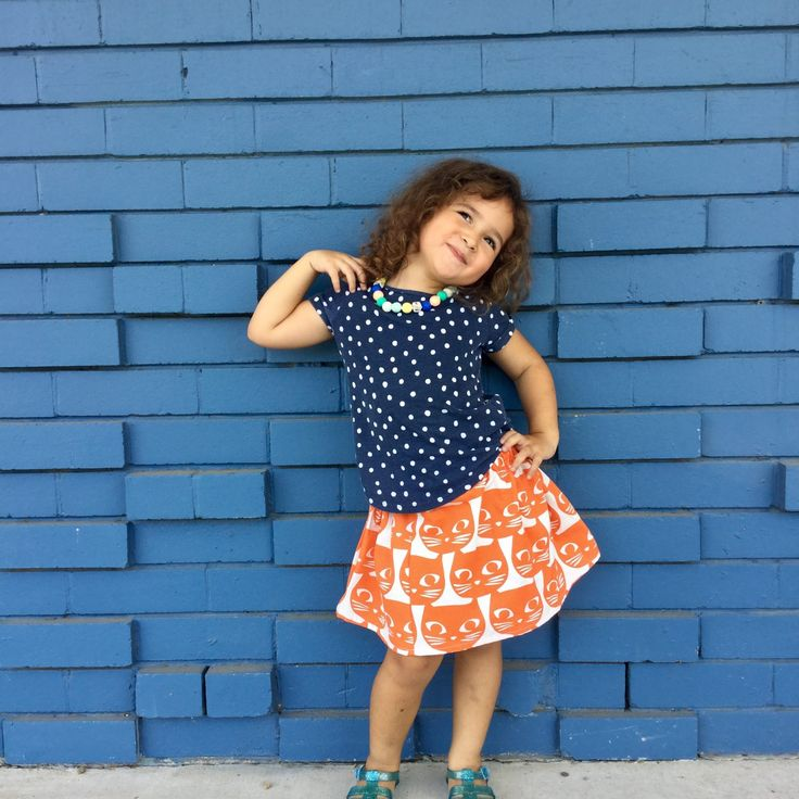 Girl's Orange Kitty Cat skirt from Kablooie Store. Fun quirky, colourful clothing for kids!