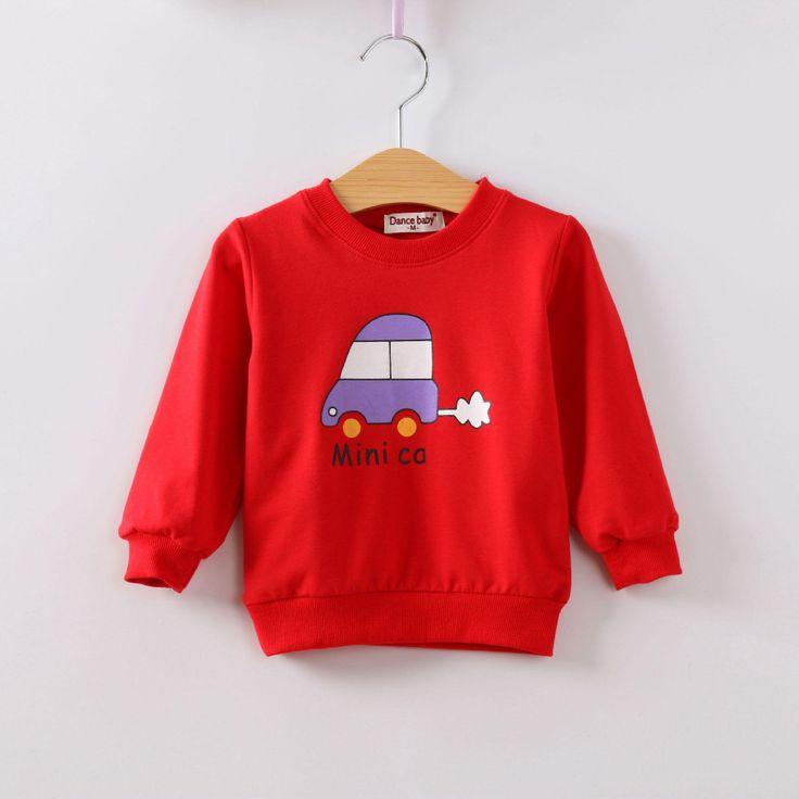 Spring Autumn Full-Sleeve T-Shirts Red Grey Pink Yellow Baby Clothes Sweatshirts 1-3 Years Car Children Pullover Girl Boy Unisex //Price: $20.12 //     ##babyfashion