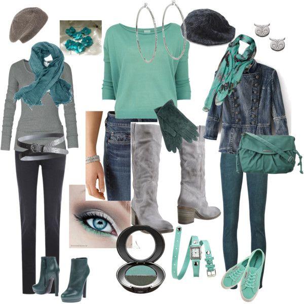 OF1- jeans, scarf, belt. N2G: grey ls tee, teal booties.  OF2- jeans, boots, belt. N2G: mint ls tee.  OF3- jean jacket, grey top, mint flats, scarf. N2G: dk green jeans, teal bag.
