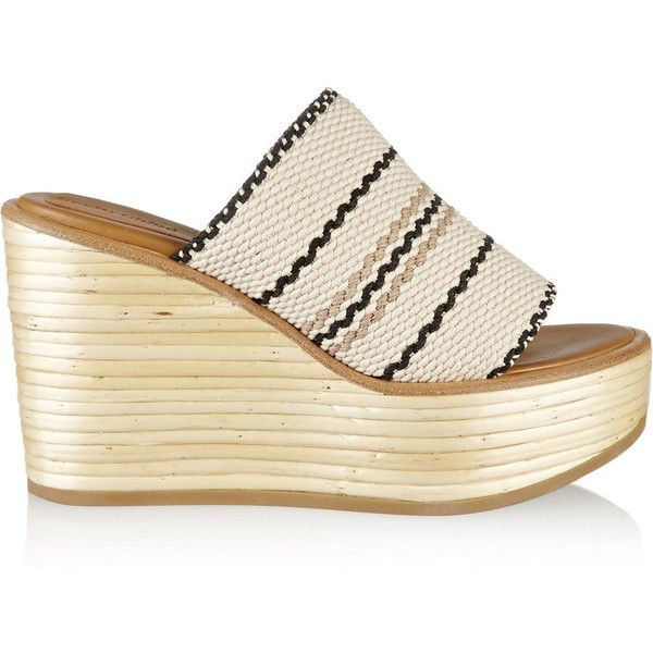 See by Chloé Kenna woven cotton wedge sandals (€180) ❤ liked on Polyvore featuring shoes, sandals, neutral, high heel wedge sandals, black sandals, black slip on shoes, black slip-on shoes and black platform shoes