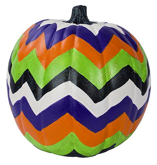 Cheerful Chevron Halloween Pumpkin -- Go Modern this Halloween, Paint a Bright Chevron Pumpkin