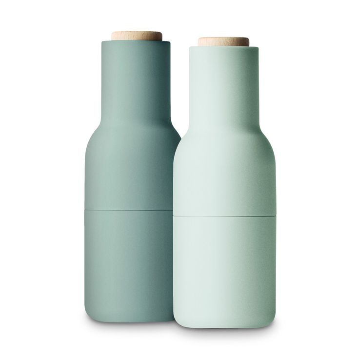 Pfeffer- und Salzmühle Bottle Grinder Moosgrün klein 2er-Set