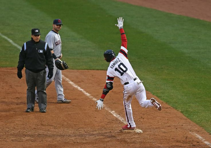 """April 13, 2014. Alexei Ramirez """"flies"""" around 1st base after his 2 run homerun wins it for the Sox in the bottom of the 9th. Final score 4-3 vs. the Cleveland Indians."""