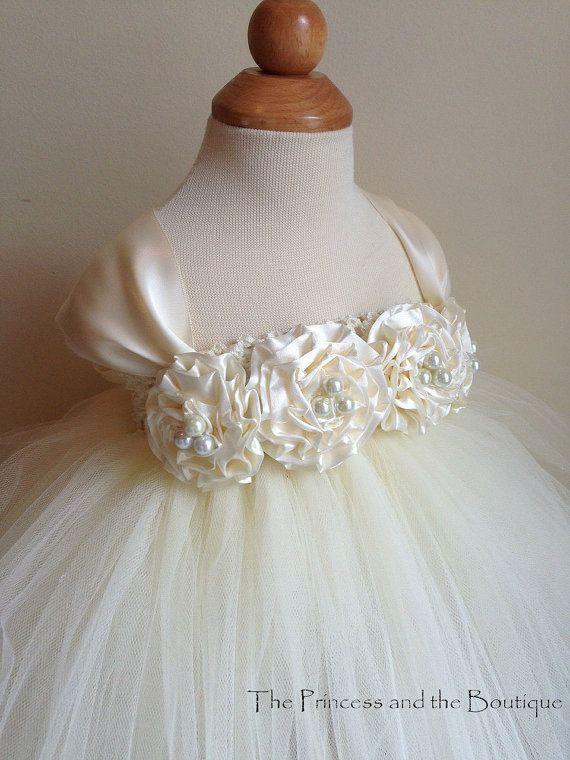 Flower girl dress Ivory tutu dress, cap sleeves  chiffton roses, baby tutu dress, toddler tutu dress,newborn-24, 2t,2t,4t,5t, birthday
