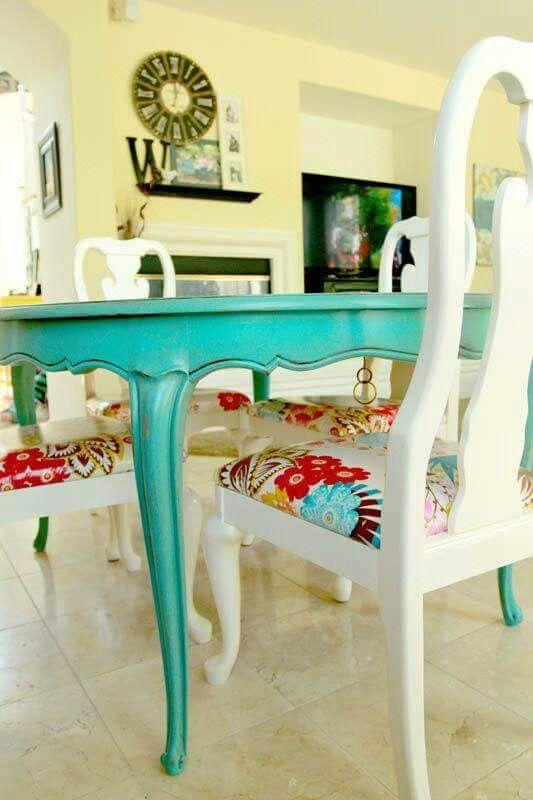 #restaurar mesa en #turquesa
