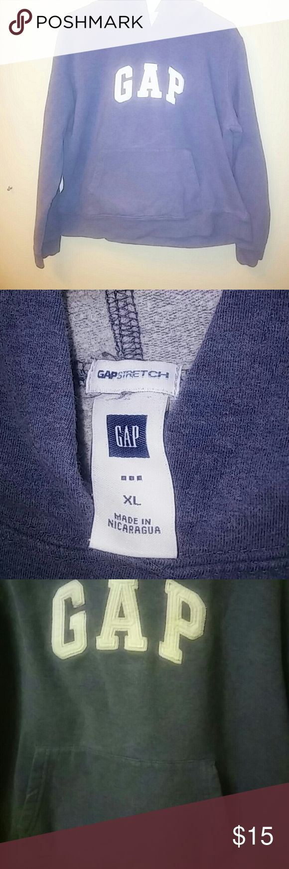 GAP ladies hoodie XL GAP ladies hoodie XL in perfect shape denim blue in color very warm. Clean no stains and laundered $$ offers available GAP Tops Sweatshirts & Hoodies