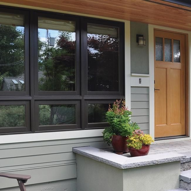 Ultra Series Fiberglass Picture Awning Windows In Black Bean Window Design Windows Exterior House Colors