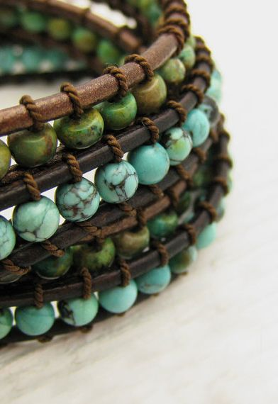Natural Green Turquoise Wrap Bracelet / Eco Friendly