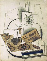 Pablo Picasso, La Bouteille de vieux marc [printemps 1913] Fusain, gouache, papiers collés et épinglés sur papier, 63 x 49 cm
