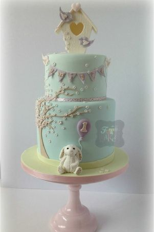 birdhouse first birthday cake