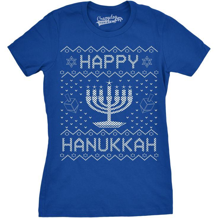 Crazy Dog T-shirts Womens Happy Hanukkah Tshirt Funny Jewish Menorah Ugly Chanukah Sweater Tee