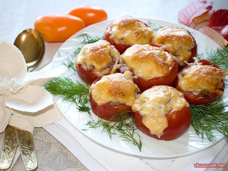 Запеченные помидоры с фаршем и рисом
