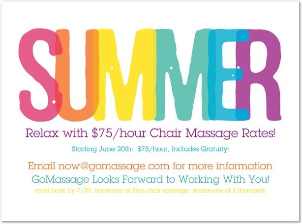 GoMassage Summer Chair Massage Special! #CorporateChair #Massage #Summer www.gomassage.com now@gomassage.com