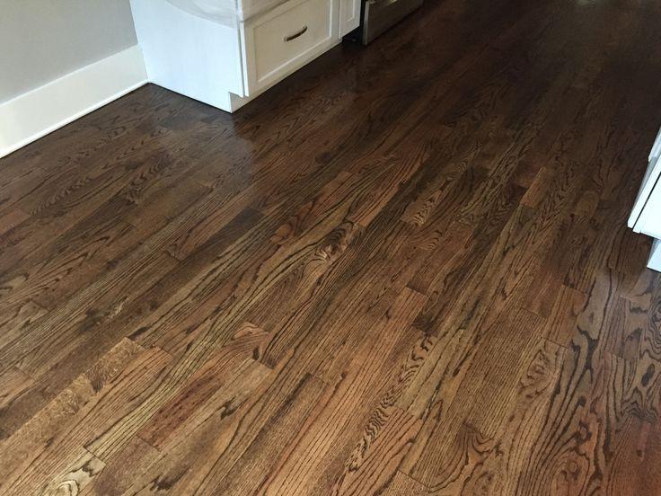 Newly sanded #2 Red Oak Hardwood Flooring. Minwax Espresso Stain