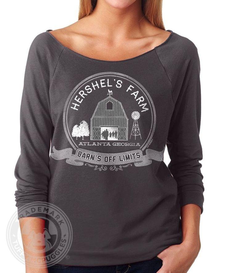 HERSHEL'S FARM Funny Vintage Walking Dead Zombie N6951 French Terry TWD T- Shirt. Women ...