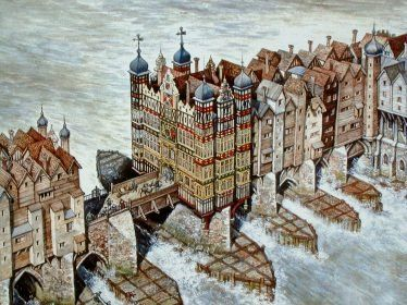 Old London Bridge in 1600  This detail shows 'Nonsuch House', completed in 1579.