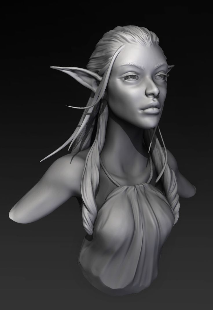 Elf girl Bust, Swasti DW on ArtStation at https://www.artstation.com/artwork/kaRG6