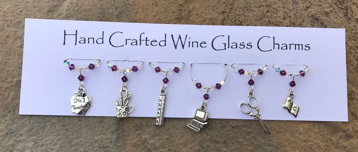 A personal favourite from my Etsy shop https://www.etsy.com/uk/listing/492304611/teachers-wine-glass-charms-school-theme