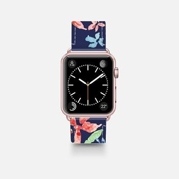 Leather Watch Band -  Flower Garden watercolor blue background by imush- iwatch