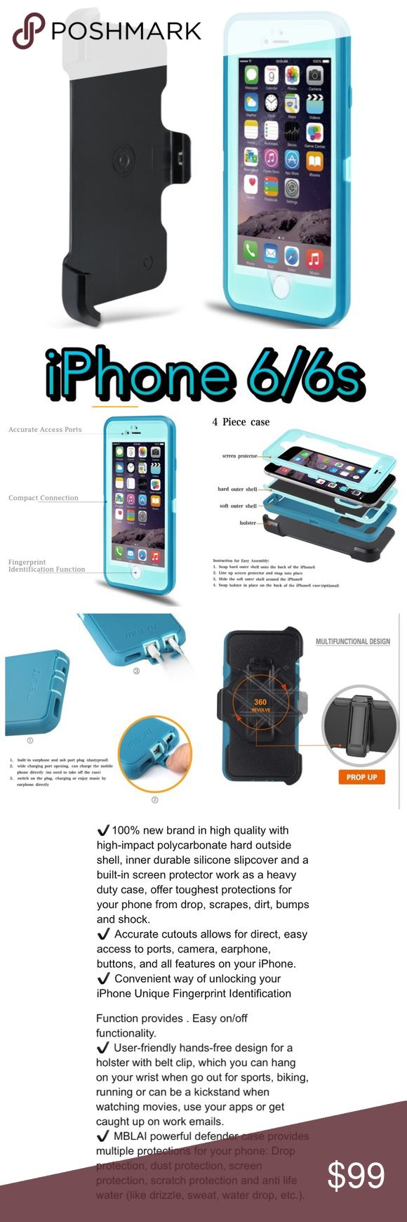 iPhone 6 6s case Defender 4 Layer Screen Protector iPhone 6 case, iPhone 6s case Shock Absorbent 4 Layer Defender. Built-in Screen Protector Case Cover For iPhone 6/6s [4.7 inch] (Blue/Teal)  ✔100% new brand in high quality with high-impact polycarbonate hard outside shell, inner durable silicone slipcover and a built-in screen protector work as a heavy duty case, offers toughest protection from drop, scrapes, dirt, bumps and shock.  ✔ Accurate cutouts allows for direct, easy access to all…