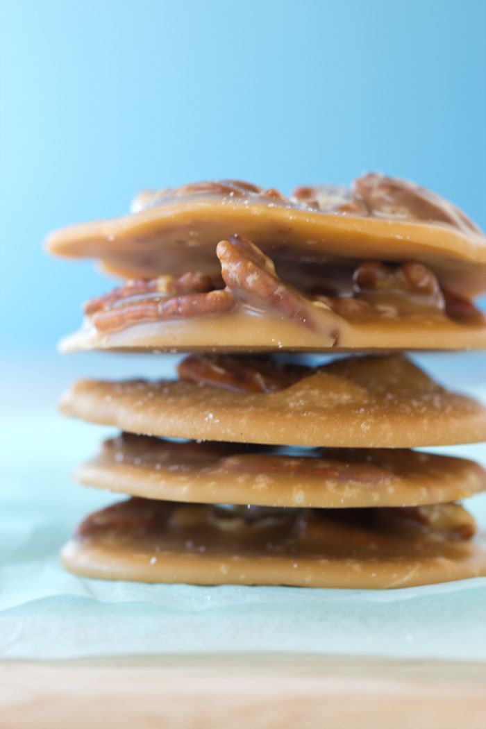 Monday Night: Pecan Pralines!  THESE ARE AWESOME!  I just made them, I put fancy sea salt on top...and they're amazing.  Im actually going to make a second batch tonight!  Caution: use a pan with tall sides because the sugar bubbles up a lot.  I did use vanilla also :)  Make these!!!