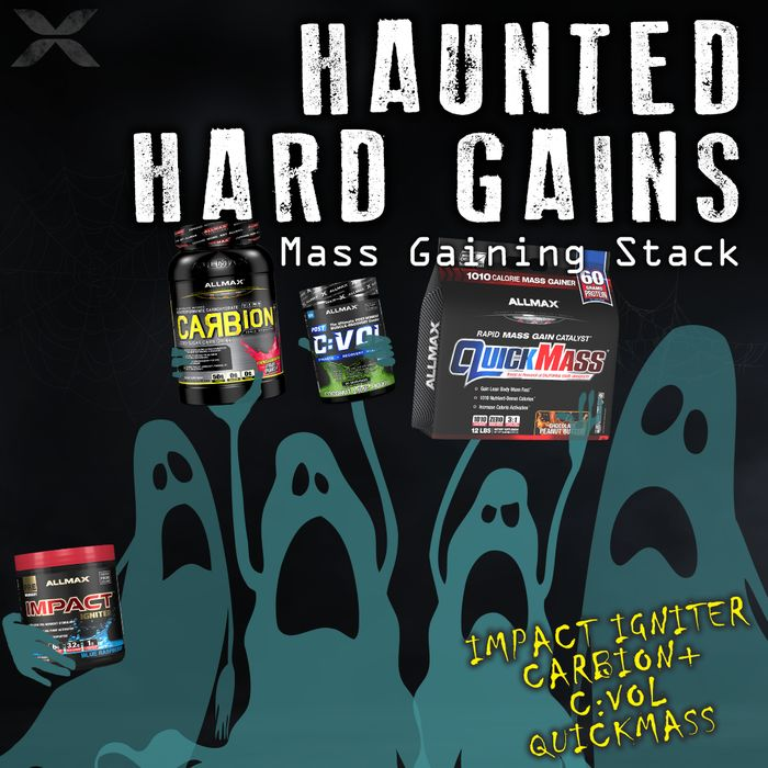 Don't be haunted by not earning your hard mass gains! To dominate the iron and GROW you must have the right supplements in your arsenal...  #IMPACTIgniter  #CARBION  #CVOL  #QUICKMASS The ultimate in MASS GAINING stacks for individuals who want to set HUGE goals and push their limits!  #ALLMAX