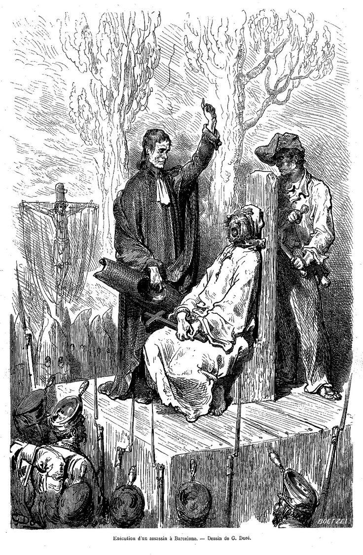 Ajusticiamiento por garrote vil en España, grabado de Doré.
