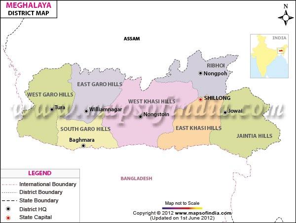Meghalaya District Map