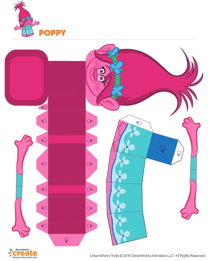 Free Poppy paper boxcraft - great for decorations or activities at Trolls birthday party