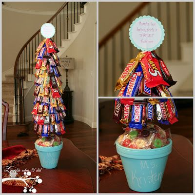 Candy Topiary with step by step photo tutorial. Great for gift or fun party buffet idea. Made with flower pot, dowl, round and cone shaped styrofoam & glue gun.