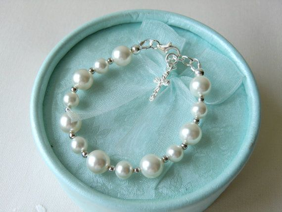 White Baby Bracelet for Christening Baptism or Communion Flower Girls Bracelet Baby Shower Gift Pearl Bracelet Sterling Silver Bracelet