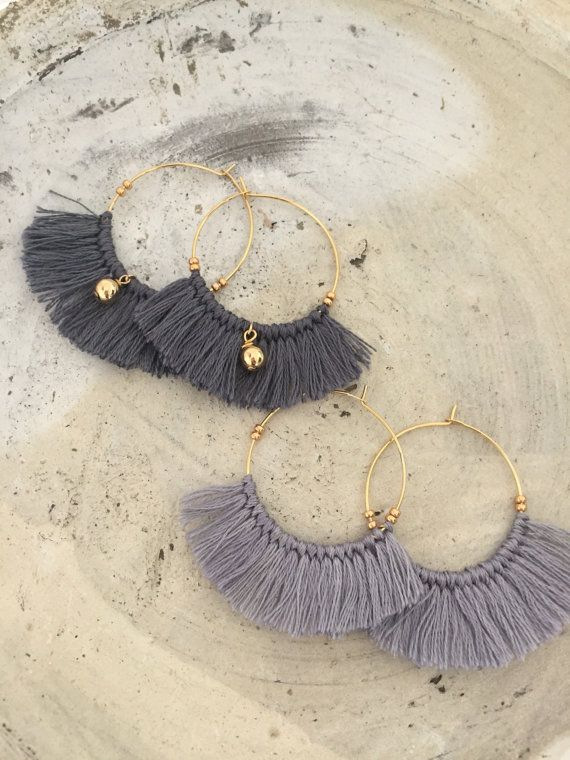 Amazing Trendy earrings 2017 bohemian bangs gray tassel bows gold …