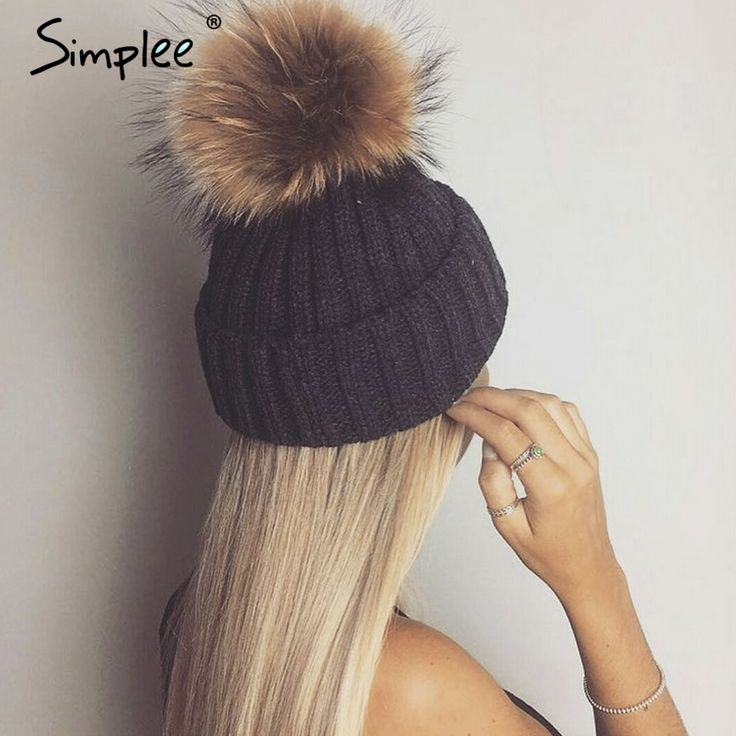 US $8.99 -- Simplee Removable real fur pompon Bobble hats for women skullies beanies Warm stocking hat 2016 autumn cap winter hat female aliexpress.com