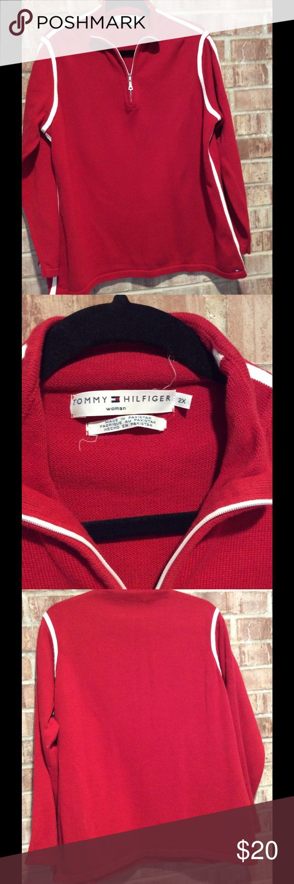 Red Sport Sweater Red sweater with sporty white trim. Zipper part way down the front. 100% cotton, washable. Perfect condition! Tommy Hilfiger Sweaters