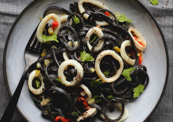 When you're having a bad day, just make pasta with a unique spaghetti recipe - black squid ink pasta and calamari.