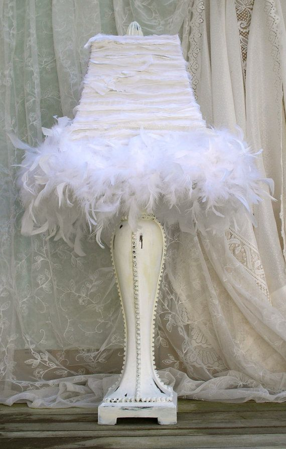 Shabby Chic Bedroom White Silk Ribbon Lamp by upcyclesisters, $149.00