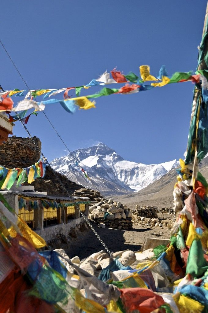 ...seeing the amazing view of Everest's famous North Face...  Rongbuk, the highest monastery in the world