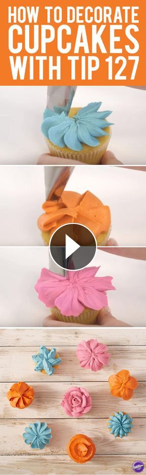 Here are 8 ways to decorate cupcakes with Wilton decorating tip 127!