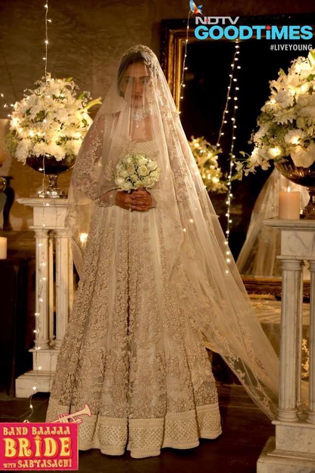 The ivory white Sabyasachi gown as seen on the Band Baaja Bride show season 4. #Bridelan #Sabyasachi #sabyasachiweddinglehenga