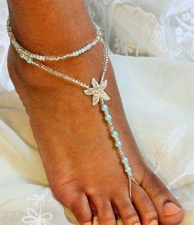 Barefoot sandales Turquoise étoile de mer par SubtleExpressions