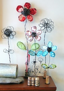 Wire flowers.  Gloucestershire Resource Centre  http://www.grcltd.org/scrapstore/
