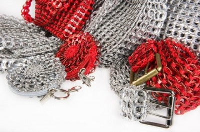 Pop top crocheted belts, bags and small floral pouches from Coussinet